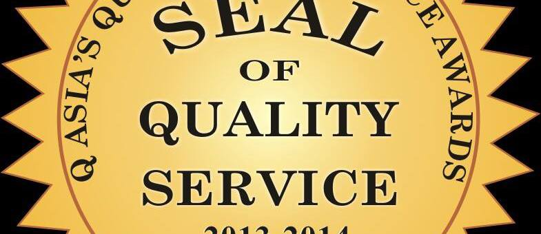 Q Asia's Seal of National Quality Excellence Service Awardee for 2013-2014